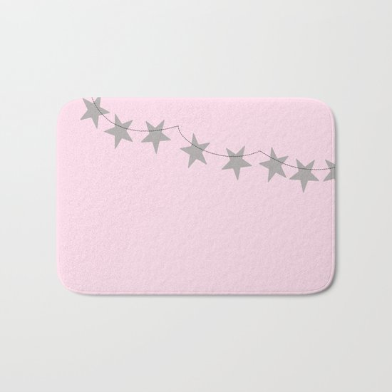 Grey stars on pink background Bath Mat