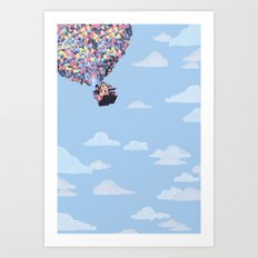 disney pixar up.. balloons and sky with house Art Print