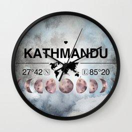 Kathmandu,   Nepal, Watercolor Design with Latitude & Longitude Map Coordinates Wall Clock