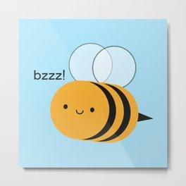 Kawaii Buzzy Bumble Bee Metal Print