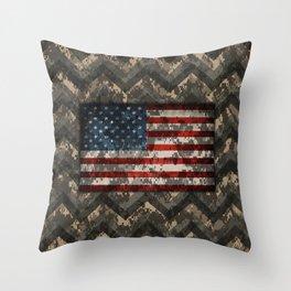 Digital Camo Patriotic Chevrons American Flag Throw Pillow