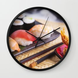 Shrimp tempura and various Japanese sushi on a plate Wall Clock