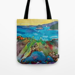 Otters at the Beach Tote Bag