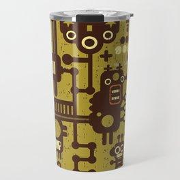 Funny Little Robots Pattern Travel Mug