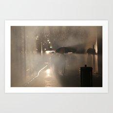 Strolling in the Rain Art Print
