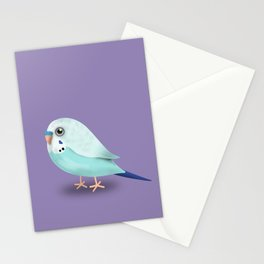 Cute illustration af a blue budgie Stationery Cards