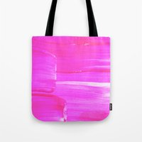 hot pink Tote Bags featuring Hot PINK by HollyJonesEcu