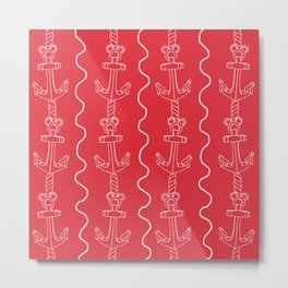 Mickey Anchor (punch pink) Metal Print