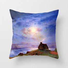 Stone Cottage by the River under Moonlight pastoral landscape painting by Ferdinand Du Puigaudeau Throw Pillow
