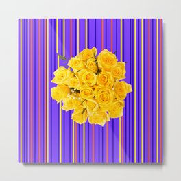 GOLDEN YELLOW ROSES PURPLE STRIPE PATTERN Metal Print