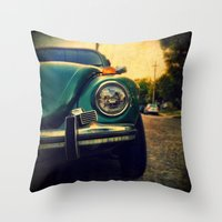 beetle Throw Pillows featuring Beetle by Melissa Lund