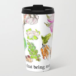 Fresh: a watercolor of the bounty at Quebec City's farmers' market Metal Travel Mug