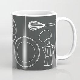 kitchen tools (white on black) Coffee Mug