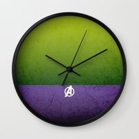 hulk Wall Clocks featuring Hulk by El Pigro