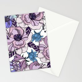 Cute beautiful floral seamless pattern. Ultraviolet roses, violas and meadow flowers. Stationery Cards