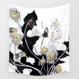 Gold Dandelions Wall Tapestry