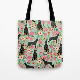 Doberman Pinscher florals must have dog breed gifts for dog person with doberman Tote Bag