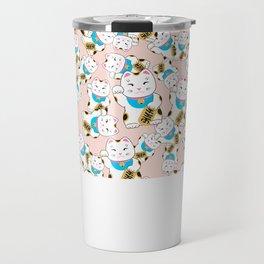 Maneki-neko good luck cat pattern Travel Mug