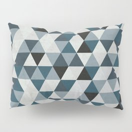 Sea Blue and Grey / Gray - Hipster Geometric Triangle Pattern 02 Pillow Sham