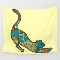 kitten Wall Tapestries featuring I love you, kitten by Brown Eyed Lady