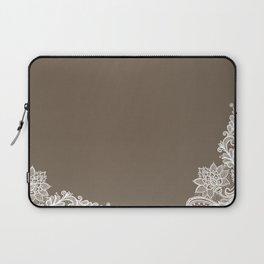 White Lace Mocha Decoration Vintage Lace Brown Retro Lace Henna Print Laptop Sleeve