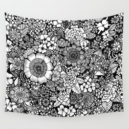 Blackand White Floral Line Drawing Wall Tapestry