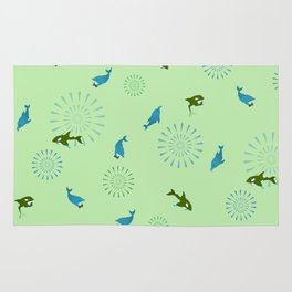 Green Orca and Dolphin Rug