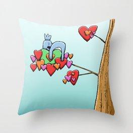 Cute Koala Sleeping on Heart Leaves Throw Pillow