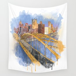Pittsburgh Fort Pitt and Downtown Wall Tapestry