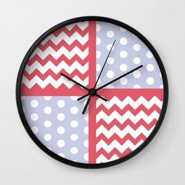 Light Red/Pastel Blue Chevron/Polkadot Pale Color Pop Zigzag Wall Clock