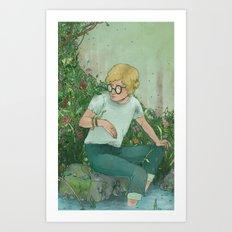 boy and snake  Art Print