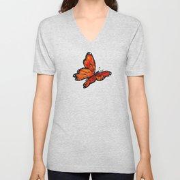 Orange Watercolor Butterfly Design Unisex V-Neck