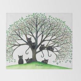 Borders Stray Cats in Tree Throw Blanket