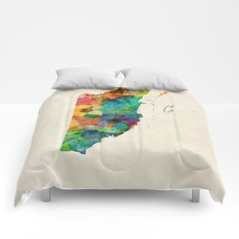 Belize Watercolor Map Comforters