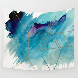 Galaxy Series 1 - a blue and gold abstract mixed media set Wall Tapestry