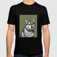 Aspen the Husky Mens Fitted Tee MEDIUM Black