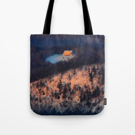 Morning Sun on the Yellow House on the Mountain Tote Bag