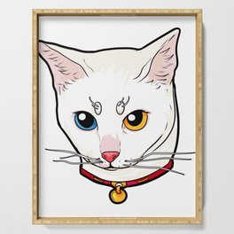 Khao Manee white Cat Face Love cool funny cute Serving Tray