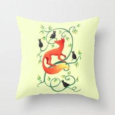 Bunnies and a Fox Throw Pillow