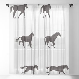 a horse runs Sheer Curtain