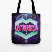 spires Tote Bags featuring Spires 80's Neon  by Spires