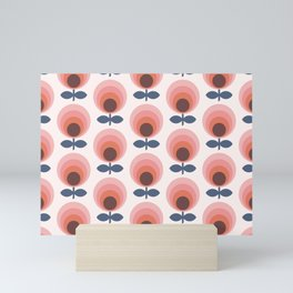 Mid century circle gradient flowers pattern on products Mini Art Print