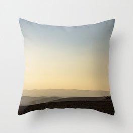 camels at sunset Throw Pillow