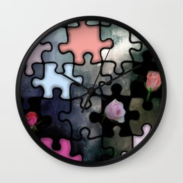 rosebuds and puzzle Wall Clock