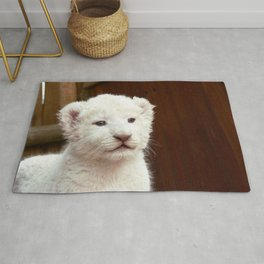 I will hug him and pet him and squeeze him and I will name him George - White Lion Cub Rug