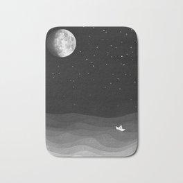 Moon phase, black and white, ocean Bath Mat