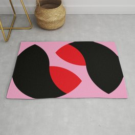A clear, PINK background. Two shrimps probably swimming around it. Graphic shrimps... Rug