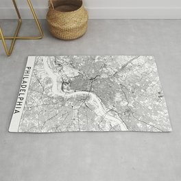 Philadelphia White Map Rug