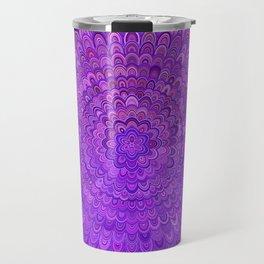 Purple Mandala Bird Feathers Travel Mug