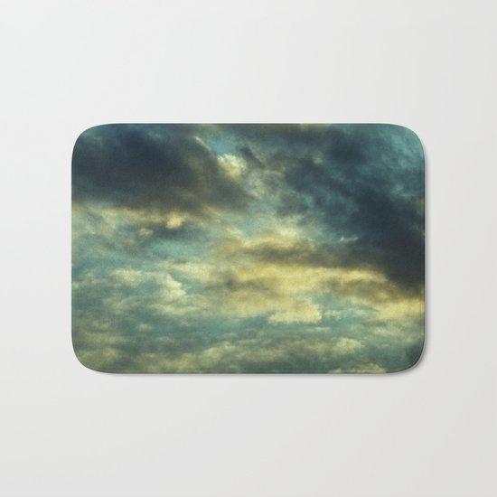 Cloudy Gray Blue Sky Vintage Bath Mat